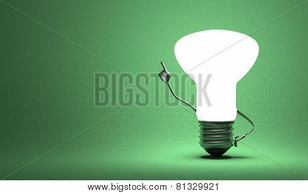 Glowing light bulb character in aha moment on green background poster