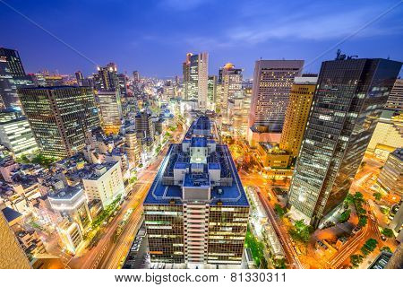 Osaka, Japan downtown cityscape over the Umeda District.
