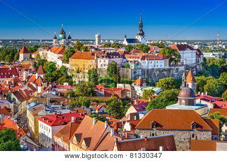 Tallinn, Estonia, old town skyline of Toompea Hill. poster