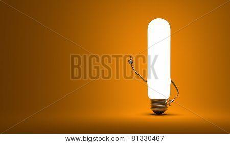 ??tubular Light Bulb Character In Aha Moment
