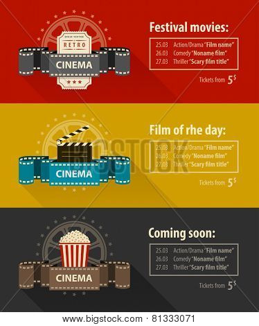 Retro cinema banners posters flyers templates flat design. Eps10 vector illustration. Isolated on white background