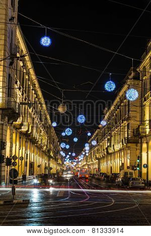 Po Street by night, Turin