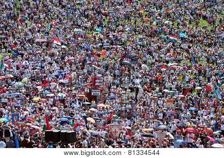 Catholic Pilgrims Celebrating The Pentecost In Europe