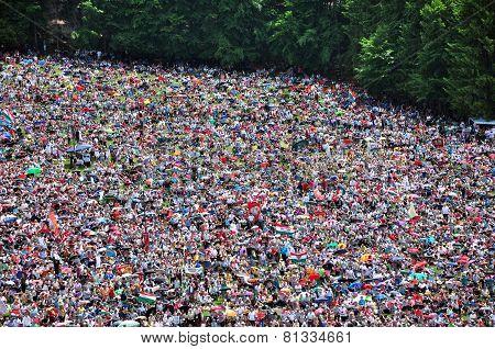 Catholic Pilgrims Celebrating The Pentecost In Szeklerland, Romania