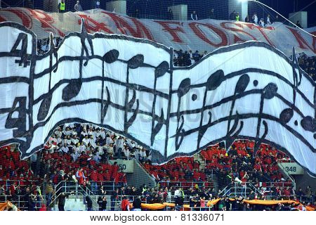Choreography Of Football Fans In A Stadium