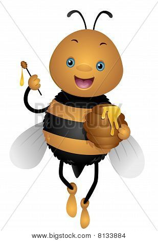 A Bee holding Honey with Clipping Path poster