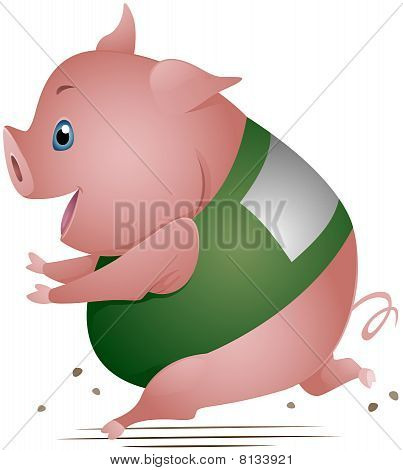 Pig Running in Race with Clipping Path poster