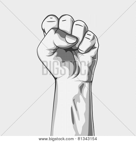 clenched fist. Black and white