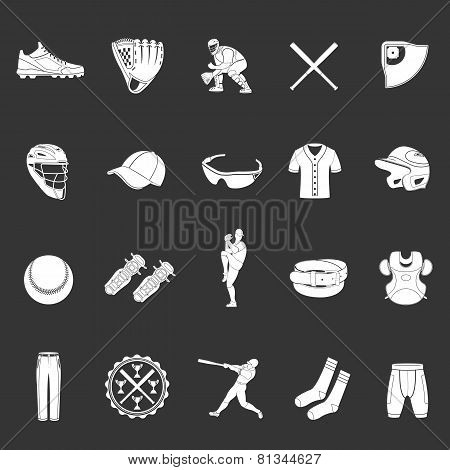 Set Of Icons Of Baseball On A Dark Background