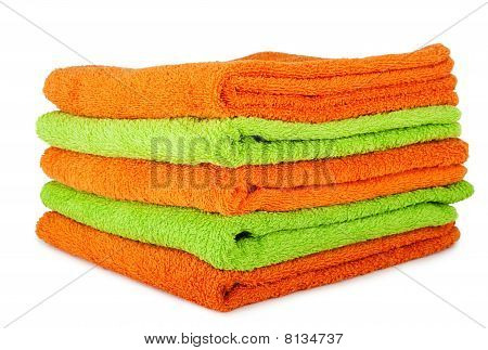 Multicolored Orange And Green Towels