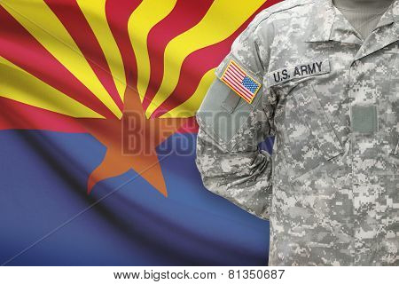 American soldier with US state flag on background - Arizona poster
