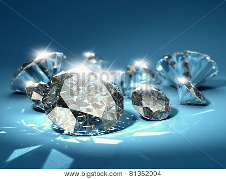Brilliant diamonds on blue background