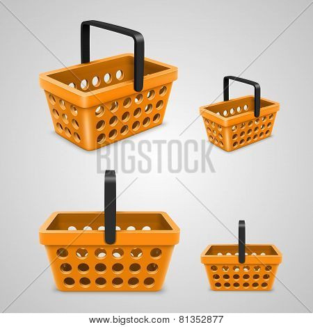 Vector shopping bag with round holes. orange