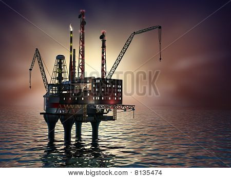 Drilling offshore Platform in night sea. 3D image.