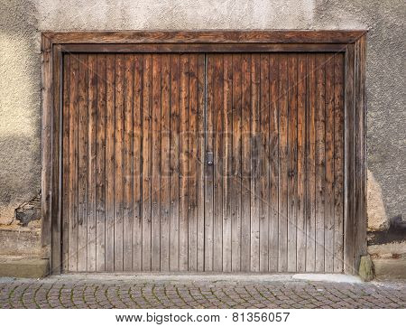 Weathered brown garage door