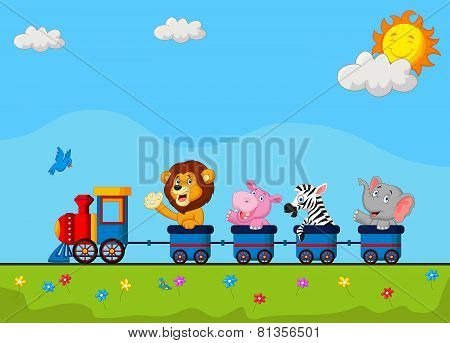 Cute animal cartoon on train
