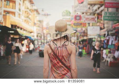 Young Woman Walking In Khao San, Bangkok