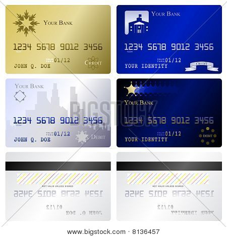 Four fake credit card fronts and two matching back sides poster