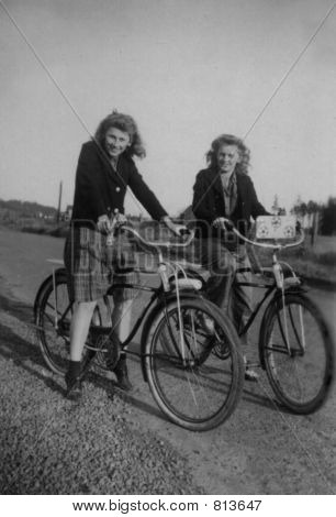 Vintage Girls 1940  Photo with Bicycles