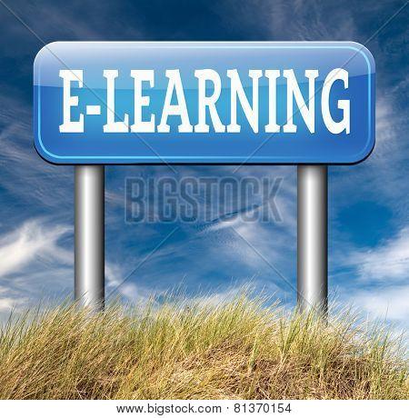 e-learning online education internet learning in open school or university elearning road sign