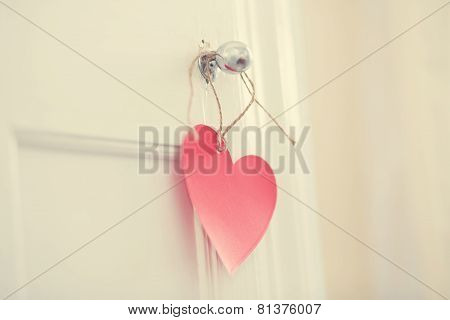 Hand Crafted Heart Hanging From Door Knob
