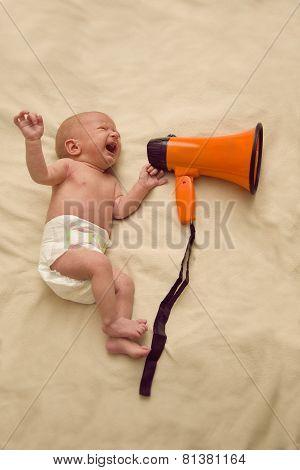 A newborn baby cries