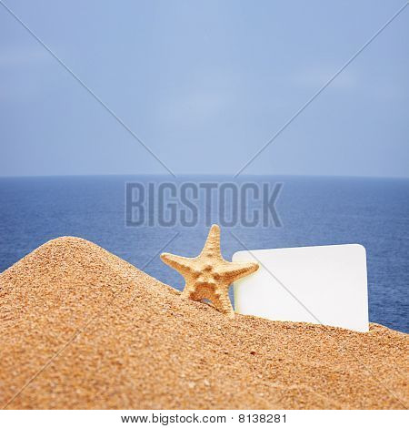 A view of a sea star and a white card on a beach poster