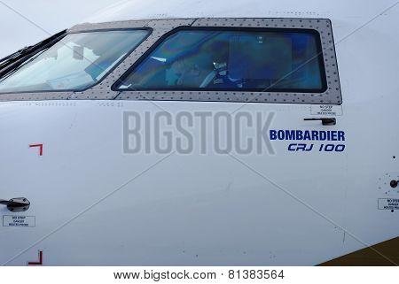 NIZHNY NOVGOROD. RUSSIA. January 26, 2015. STRIGINO AIRPORT.Passenger plane Bombardier CRJ 100