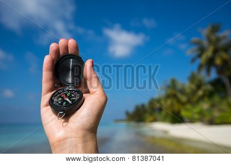Close Up Of The Hand Holding A Magnetic Compass Over A Landscape View  Travelling In The Nature Back