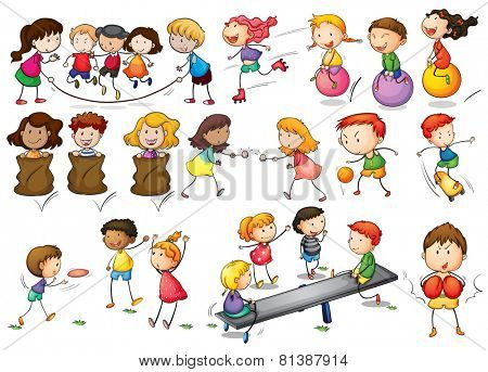 Illustration of children playing and doing activities