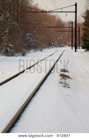 Railroad with thick snow