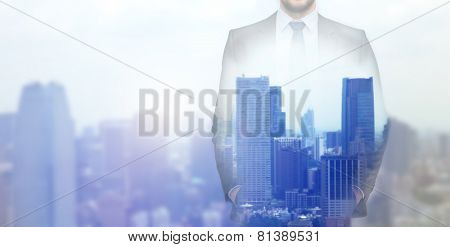 business, people and technology concept - close up of businessman over city background
