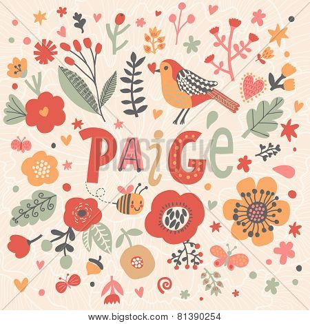 Bright card with beautiful name Paige in poppy flowers, bees and butterflies. Awesome female name design in bright colors. Tremendous vector background for fabulous designs