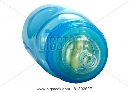 Close Up Of Blue Plastic Baby Bottle With Clear Teat