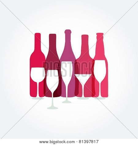 Wine list design templates with wine bottle and glasses.