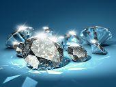 Brilliant diamonds on blue background poster