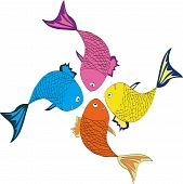 Four varicolored fishes at the white background poster