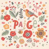 Bright card with beautiful name Paige in poppy flowers, bees and butterflies. Awesome female name design in bright colors. Tremendous vector background for fabulous designs poster