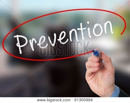 Man Hand writing Prevention with marker on visual screen