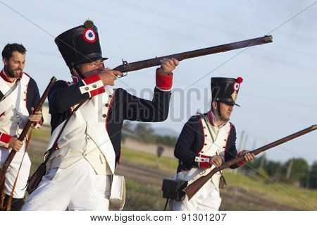 Soldiers Fire Muskets