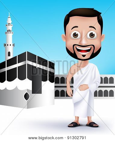 Man Character Wearing Ihram Cloths for Performing Hajj or Umrah