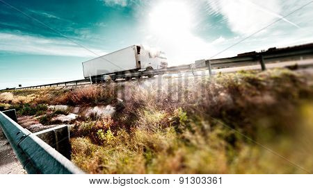 Trucks and highway.