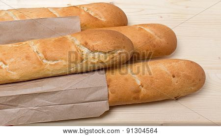 Several Baguettes On The Table