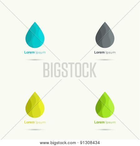 Set Water drop abstract vector