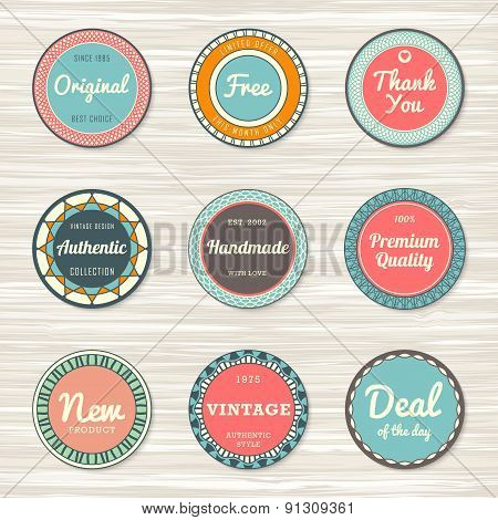 Vintage labels template set: original, premium quality, deal of the day, authentic, free, handmade, new. Retro badges for your design on wooden background. Vector illustration poster