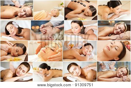 beauty, healthy lifestyle and relaxation concept - collage of many pictures with beautiful young women having facial or body massage in spa salon