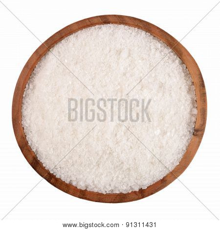 Salt In A Wooden Bowl On A White