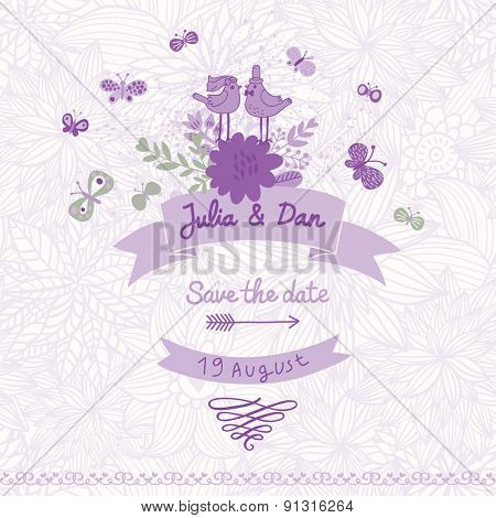 Stylish Save the Date card made of cute birds, butterflies and flowers in vector. Vintage summer background in purple colors