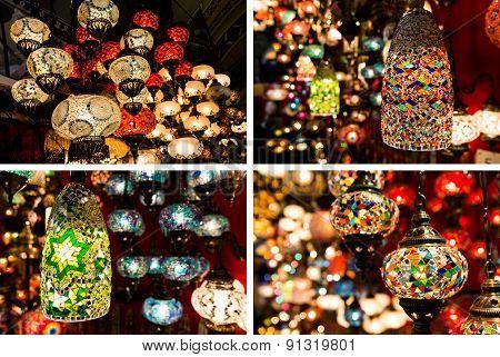 Photo Collage Of Colorful Turkish Lanterns