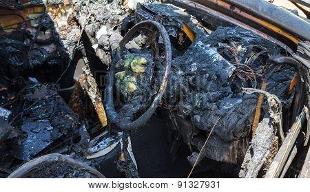 Car interior after fire